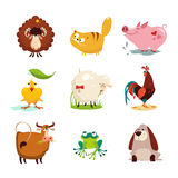 Farm Animal and Bird Collection Set Stock Images