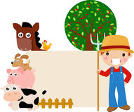Farm animal and boy Stock Images