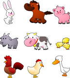 Farm animal cartoon set. Nine cartoon farm animals like rabbit, horse, pig, goat, cow, chicken, hen, cock, rooster and duck  illustration Stock Photography