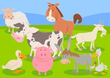 Farm animal characters cartoon illustration Stock Photos