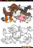 Farm animal characters coloring book. Cartoon Illustration of Farm Animal Characters Group Coloring Book Activity vector illustration