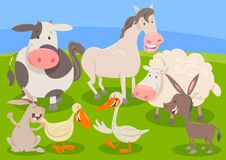 Farm animal characters group cartoon Stock Image