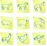 Farm animal collection on post it notes Royalty Free Stock Photography