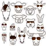 Farm animal faces with glasses set, line art Stock Photography