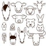 Farm animal faces line art set Stock Image