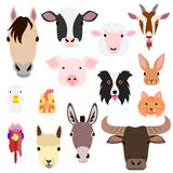 Farm animal faces set Stock Image
