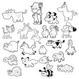 Farm animal family. Vector isolated black and white characters Stock Image