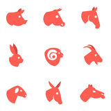 Farm animal flat icons Stock Photo