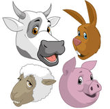 Farm animal  heads. Cartoon illustration of farm animal  heads on white Royalty Free Stock Photography