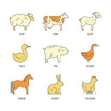 Farm Animal Icons Royalty Free Stock Photos