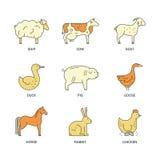 Farm Animal Icons Royalty Free Stock Photos