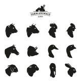 Farm Animal Icons Isolated on White