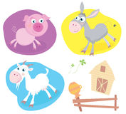 Farm animal pack – pig, goat, donkey. Royalty Free Stock Photography