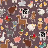 Farm animal and pets stickers pattern Stock Image