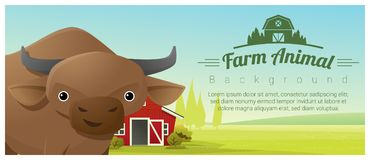 Farm animal and Rural landscape background with cow Stock Photography
