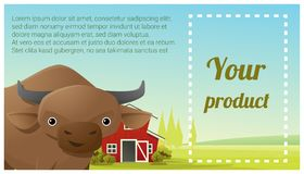 Farm animal and Rural landscape background with cow Royalty Free Stock Photography