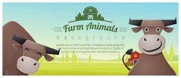 Farm animal and Rural landscape background with cows. Vector , illustration Royalty Free Stock Photography