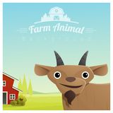 Farm animal and Rural landscape background with goat Stock Images