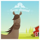 Farm animal and Rural landscape background with horse Royalty Free Stock Image