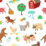 Farm animal seamless pattern with white background Stock Photo