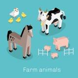 Farm Animal Set Isometric 3d Design Royalty Free Stock Image