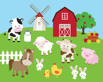 Farm Animal Set. Vector illustration of farm animals such as cow, horse, pig, sheep, chicken, bull, rabbit with barn and windmill Royalty Free Stock Images