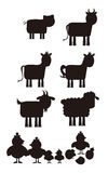 Farm animal silhouette Royalty Free Stock Photo