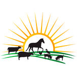 Farm animal silhouettes logo Stock Photo