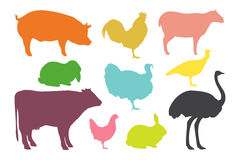 Farm animal silhouettes. Stock Photos