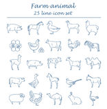 Farm animal thin line collection. 25 icon set. Flat design. Vector illustration Stock Image