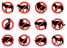Farm animal warning signs. Selection of twelve black farm warning animals Royalty Free Stock Photography