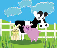 Farm Animals. Cartoon cow, bunny and pig in grassy pasture by a fence on a cloudy day Stock Images