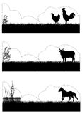Farm animals. Silhouette  illustration vector Royalty Free Stock Images