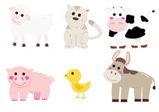 Farm animals. Set of farm animals isolated on white, cartoon style Royalty Free Stock Images