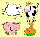 Farm animals. The farm animals set: pig, sheep, hen, bull Stock Photography