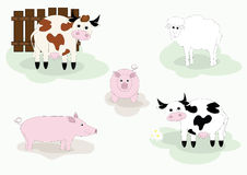 FARM ANIMALS. Illustration of cow, sheep and pig Stock Images