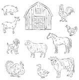 Farm animals. Sketch set of different farm fnimals Stock Image