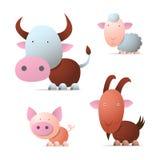 Farm animals. Cow, pig, sheep and goat, cartoon illustration Stock Photography