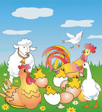 Farm animals. Rooster, sheep, chicken and cake on a spring meadow. Vector illustration available for download Royalty Free Stock Photo