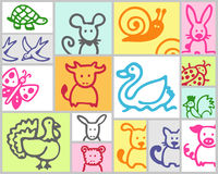 Farm animals. Vector hand drawn color set Stock Photography
