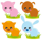 Farm animals. Illustration of four farm animals: pig, dog, cat and rabbit