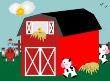 Farm animals. Barnyard with red barn, tractor and farm animals stock illustration