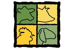 Farm Animals. Vector graphic farm animal icons, easy to change color Royalty Free Stock Image