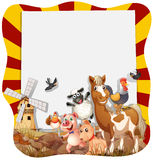 Farm animals around the frame Stock Image