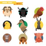 Farm animals avatars Royalty Free Stock Image