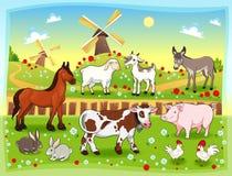 Farm animals with background stock illustration