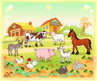 Farm animals with background vector illustration