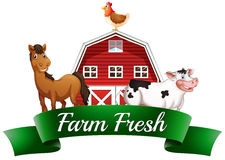 Farm animals, a barnhouse and a signboard Royalty Free Stock Image