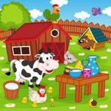 Farm animals in barnyard Royalty Free Stock Images