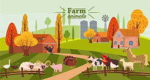 Farm animals and birds set in trendy cute style, including horse, cow, donkey, sheep, goat, pig, rabbit, duck, goose. Turkey roosterram dog cat bull and stock illustration